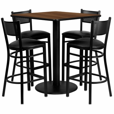 36'' Square Walnut Laminate Table Set with 4 Grid Back Metal Bar Stools - Black Vinyl Seat - MD-0015-GG