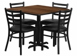 36'' Square Walnut Table Set with 4 Ladder Back Metal Chairs - Black Vinyl Seat - HDBF1016-GG