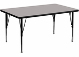 36''W x 72''L Rectangular Activity Table, 1.25'' Thick High Pressure Grey Laminate Top & Height Adjustable Pre-School Legs - XU-A3672-REC-GY-H-P-GG