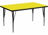 36''W x 72''L Rectangular Activity Table, 1.25'' Thick High Pressure Yellow Laminate Top & Height Adjustable Pre-School Legs - XU-A3672-REC-YEL-H-P-GG