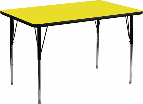 36''W x 72''L Rectangular Activity Table, 1.25'' Thick High Pressure Yellow Laminate Top & Standard Height Adjustable Legs - XU-A3672-REC-YEL-H-A-GG