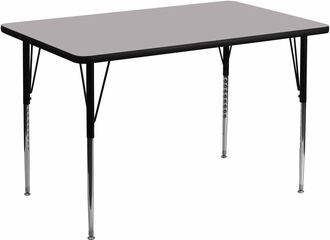 36''W x 72''L Rectangular Activity Table, Grey Thermal Fused Laminate Top & Standard Height Adjustable Legs - XU-A3672-REC-GY-T-A-GG