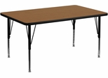 36''W x 72''L Rectangular Activity Table, Oak Thermal Fused Laminate Top & Height Adjustable Pre-School Legs - XU-A3672-REC-OAK-T-P-GG