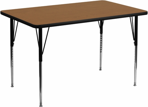 36''W x 72''L Rectangular Activity Table, Oak Thermal Fused Laminate Top & Standard Height Adjustable Legs - XU-A3672-REC-OAK-T-A-GG