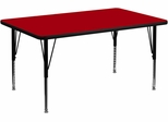 36''W x 72''L Rectangular Activity Table, Red Thermal Fused Laminate Top & Height Adjustable Pre-School Legs - XU-A3672-REC-RED-T-P-GG