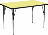 36''W x 72''L Rectangular Activity Table, Yellow Thermal Fused Laminate Top & Standard Height Adjustable Legs - XU-A3672-REC-YEL-T-A-GG