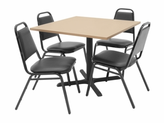 "36""x36"" Table and 4 Restaurant Stackers Set - TBS36BESC29BK"