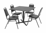 "36""x36"" Table and 4 Restaurant Stackers Set - TBS36GYSC29BK"