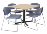 "36""x36"" Table and 4 Zeng Stack Chairs Set - TBS36BESC44"