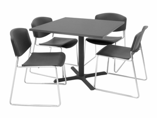 "36""x36"" Table and 4 Zeng Stack Chairs Set - TBS36GYSC44"