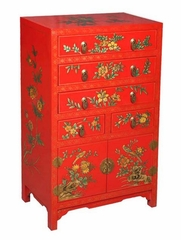 "37"" Chinese Dresser / Cabinet - Seasonal Flowers Design - frc1220"
