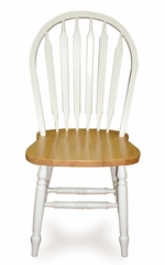 "38"" Windsor High Arrowback Chair with Turned Legs in White / Natural - C02-213"