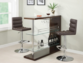 3PC Bar Table Set in Cappuccino - 100166