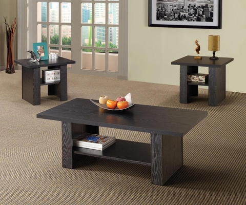 3PC Black Oak Occasional Table Set - 700345