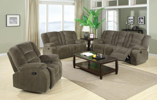3PC Charlie Reclining Sofa Set in Brown Sage - 600991