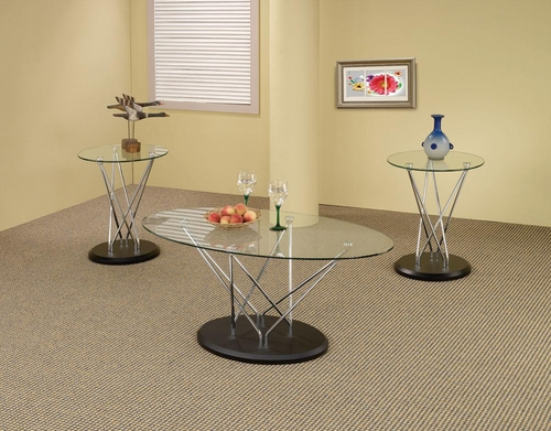 3PC Chrome and Glass Occasional Tables - 701555