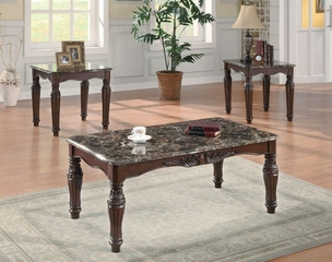 3PC Faux Marble Occasional Table Set - 701554
