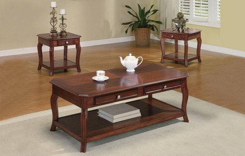 3PC Occasional Table Set with Parquet Top - 701508