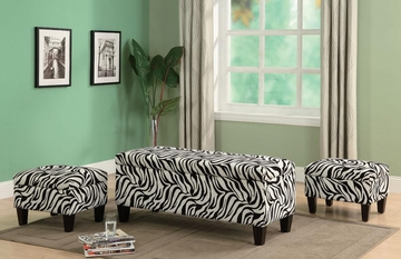 3PC Zebra Print Storage Bench and Ottomans Set - 501083