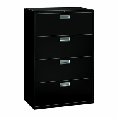 4 Drawer Locking Lateral File Cabinet in Black - HON684LP