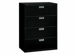 4 Drawer Locking Lateral File Cabinet in Black - HON694LP