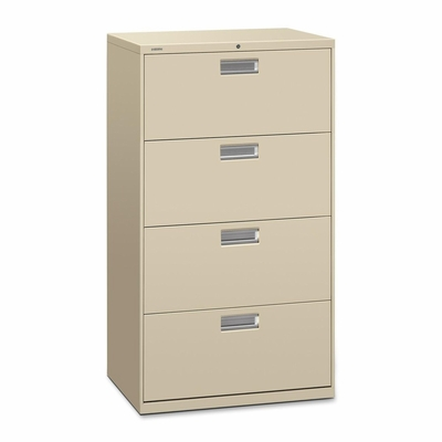 4 Drawer Locking Lateral File Cabinet in Putty - HON674LL