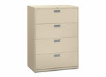 4 Drawer Locking Lateral File Cabinet in Putty - HON694LL