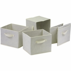 4 Foldable Beige Fabric Baskets - Winsome Trading - 82411