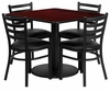 4 Ladder Back Metal Chairs and 36'' Square Mahogany Table Set - RSRB1014-GG