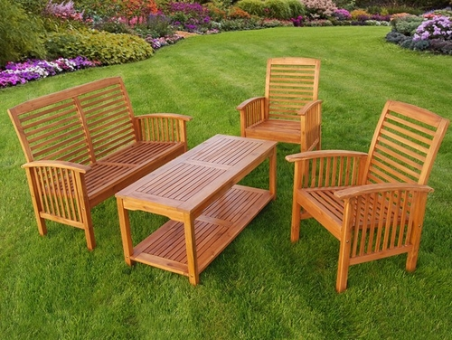 4-Piece Wood Patio Set in Natural Brown - OW4SBR-NC