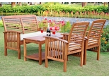 4-Piece Wood Patio Set with Cushions in Natural Brown - OW4SBR