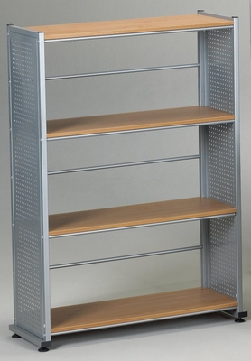 4-Shelves Organizational Unit in Medium Cherry/Metallic Gray - Mayline Office Furniture - 994MEC