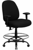 400 lb. Capacity Big & Tall Black Fabric Drafting Stool - HERCULES - WL-715MG-BK-AD-GG