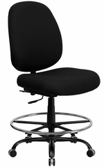 400 lb. Capacity Big & Tall Black Fabric Drafting Stool - HERCULES - WL-715MG-BK-D-GG
