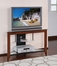 "42 Inch Corner TV Stand - ""Medium Cherry"" and Black - Powell Furniture - 533-954"