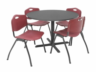 "42 Inch Round Table and 4 ""M"" Stack Chairs Set - TBR42GYSC47"