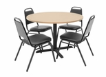 42 Inch Round Table and 4 Restaurant Stackers Set - TBR42BESC29BK