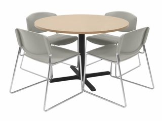 42 Inch Round Table and 4 Zeng Stack Chairs Set - TBR42BESC44