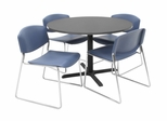 42 Inch Round Table and 4 Zeng Stack Chairs Set - TBR42GYSC44