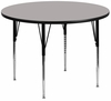 42'' Round Activity Table, 1.25'' Thick High Pressure Grey Laminate Top & Standard Height Adjustable Legs - XU-A42-RND-GY-H-A-GG