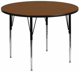 42'' Round Activity Table, 1.25'' Thick High Pressure Oak Laminate Top & Standard Height Adjustable Legs - XU-A42-RND-OAK-H-A-GG