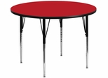 42'' Round Activity Table, 1.25'' Thick High Pressure Red Laminate Top & Standard Height Adjustable Legs - XU-A42-RND-RED-H-A-GG
