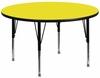 42'' Round Activity Table, 1.25'' Thick High Pressure Yellow Laminate Top & Height Adjustable Pre-School Legs - XU-A42-RND-YEL-H-P-GG