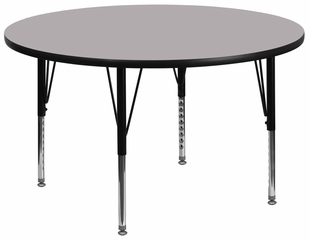 42'' Round Activity Table, Grey Thermal Fused Laminate Top & Height Adjustable Pre-School Legs - XU-A42-RND-GY-T-P-GG