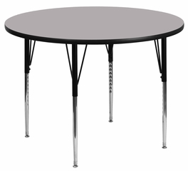 42'' Round Activity Table, Grey Thermal Fused Laminate Top & Standard Height Adjustable Legs - XU-A42-RND-GY-T-A-GG