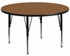 42'' Round Activity Table, Oak Thermal Fused Laminate Top & Height Adjustable Pre-School Legs - XU-A42-RND-OAK-T-P-GG