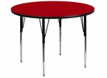42'' Round Activity Table, Red Thermal Fused Laminate Top & Standard Height Adjustable Legs - XU-A42-RND-RED-T-A-GG