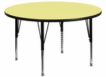 42'' Round Activity Table, Yellow Thermal Fused Laminate Top & Height Adjustable Pre-School Legs - XU-A42-RND-YEL-T-P-GG