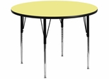 42'' Round Activity Table, Yellow Thermal Fused Laminate Top & Standard Height Adjustable Legs - XU-A42-RND-YEL-T-A-GG