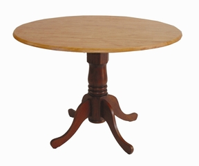 "42"" Round Dual Drop Leaf Pedestal Table in Cinnamon / Espresso - T58-42DP"